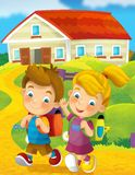 Going to school - illustration for the children Royalty Free Stock Photography