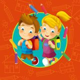 Going to school - illustration for the children Stock Image