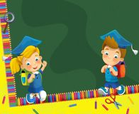 Going to school - illustration for the children Royalty Free Stock Photos