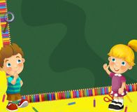 Going to school - illustration for the children Stock Images