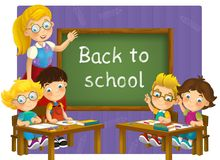 Going to school - illustration for the children Stock Photo
