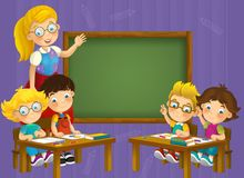 Going to school - illustration for the children Stock Photography