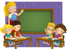 Going to school - illustration for the children Stock Image