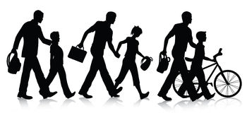 Going to school silhouettes Royalty Free Stock Photos