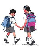 Going to School. Water colour sketch / painting of School going children from India Royalty Free Stock Images