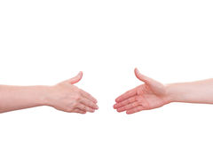 Going to shake the hands. White isolated going to shake the hands Royalty Free Stock Photography