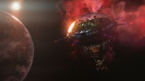 Going to the space station near the planet and nebula. 3d illustration. Rendering Royalty Free Stock Photo