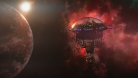 Going to the space station near the planet and nebula. 3d illustration Royalty Free Stock Photo