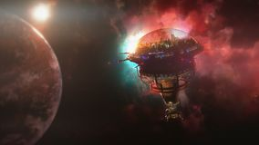 Going to the space station near the planet and nebula. 3d illustration Stock Photography