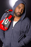 Going to Spar Man in Hoodie Red Boxing Gloves Stock Photography