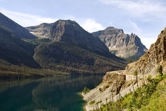 Going-to-the-sun road. Winding around St. Mary lake, Glacier national park Royalty Free Stock Photo