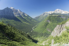 Going-to-the-sun Road Mountain Valley. An overlook showing a mountain valley on Going-to-the-sun road in Glacier National Park, Montana, United States Stock Images
