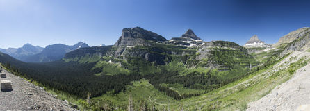 Going-to-the-Sun Road Panoramic. Extended Panoramic view from Going-to-the-Sun Road in Glacier National Park, Montana, United States Stock Photos