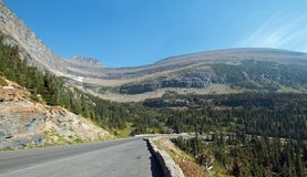GOING TO THE SUN ROAD AT SIYEH BEND CANYON IN GLACIER NATIONAL PARK IN MONTANA USA. GOING TO THE SUN ROAD AT SIYEH BEND CANYON  IN GLACIER NATIONAL PARK IN Stock Photos