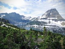 Going to the Sun Road, View of Landscape, snow fields In Glacier National Park around Logan Pass, Hidden Lake, Highline Trail, whi Stock Images