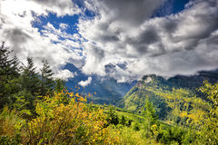 Going to the Sun Road. View from Going to the Sun Road on a sunny autumn morning in Glacier National Park, MT Royalty Free Stock Photography