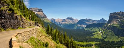 Going To The Sun Road With Panoramic View Of Glacier National Park Stock Image