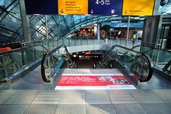 Escalators inside Frankfurt airport Stock Image