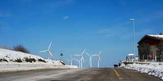 Going to wind turbines Stock Image
