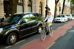 Going to work by bicycle Royalty Free Stock Photography