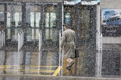 Going to work in snow storm Royalty Free Stock Images