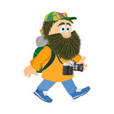 Going tourist with camera and backpack. Man with a beard. Vector illustration Vector Illustration