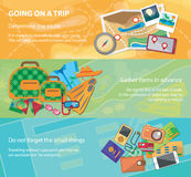 Going on a trip. Travel flat design banner set with bag, passport, glasses, mask, shirt, compass, hat, bikini and other. Stock Photo
