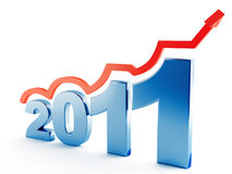 Going up in 2011. Red pointer, going up on 2011 metallic digits Royalty Free Stock Photos