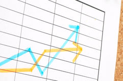 Going up. Business chart on cork board, shallow dof royalty free stock photos