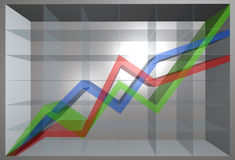 Going up chart. 3d chart with 3 lines going up Royalty Free Stock Images