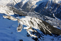 Going up or down the cable car in Chamonix, French Alpes, France Royalty Free Stock Photography
