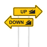 Going up or down. Road signs, 3d render, white background Stock Image