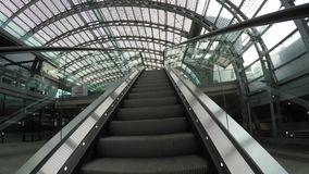 Going up on escalator in Torino train station, Italy. stock footage