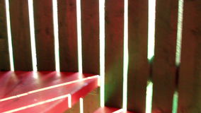 Going up the red staircase stock footage