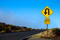 Going up. Sign at a mountain, Hawaii Stock Images