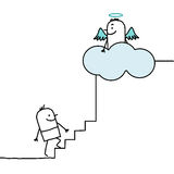 Going up to heaven. Vector hand drawn cartoon characters Royalty Free Stock Photography