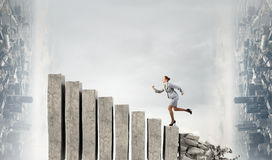 Going up to success. Mixed media Stock Photography