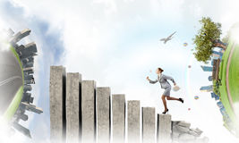 Going up to success. Mixed media Stock Photo