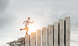 Going up to success. Mixed media Royalty Free Stock Photography