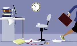 Going on vacation finally. Business woman leaving her messy office early, EPS 8 vector illustration Stock Photo