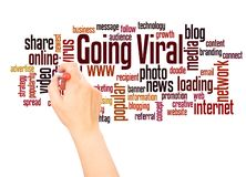 Going viral word cloud hand writing concept royalty free illustration
