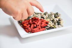 Goji еды ребенка и другие семена Стоковые Фото