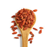 Goji beries on a wooden spoon Royalty Free Stock Image