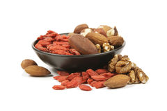 Goji Berries And Nuts Royalty Free Stock Photography