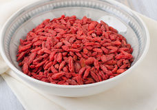Goji berries in a bowl. Royalty Free Stock Photos