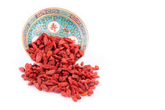 Goji Berries In Chinese Bowl Royalty Free Stock Photography