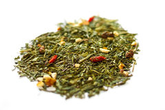 Goji berries and green tea leaves. Green tea and Goji berry , healty aliments Royalty Free Stock Photo