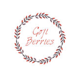 Goji berries hand-sketched circle vector frame Stock Photos