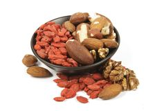 Goji Berries and Nuts Stock Images