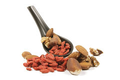 Goji Berries and Nuts on a Spoon Royalty Free Stock Images
